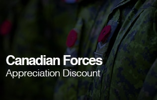 Canadian Forces Appreciation Discount, learn more image link.